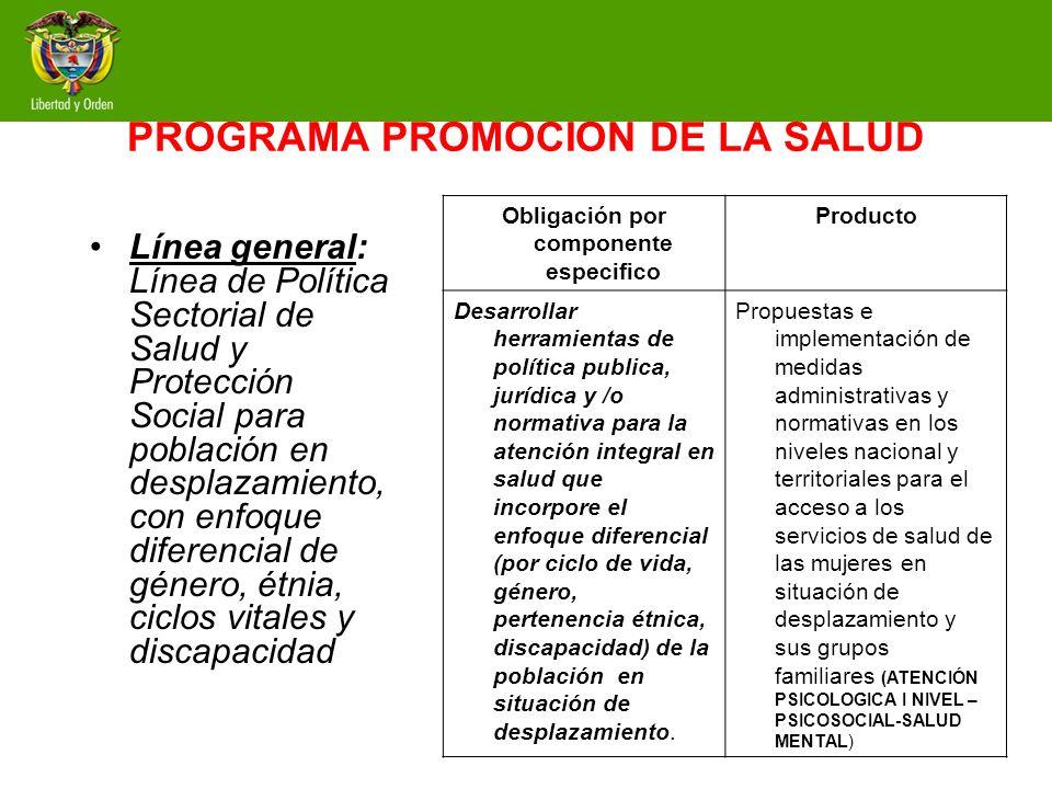 Programa: Promoción de la Salud Línea de promoción de la afiliación al aseguramiento y de la atención integral de los servicios de salud.Línea general: Línea de Política Sectorial de Salud y Protección Social para población en desplazamiento, con enfoque diferencial de género, étnia, ciclos vitales y discapacidad