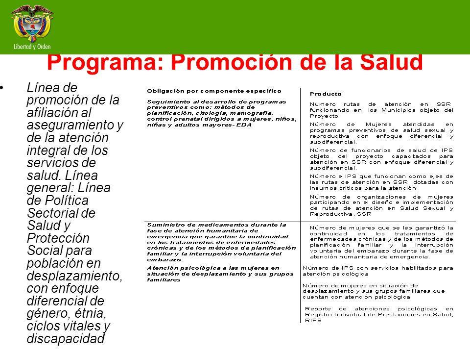 Programa: Promoción de la Salud Línea de promoción de la afiliación al aseguramiento y de la atención integral de los servicios de salud. Línea genera