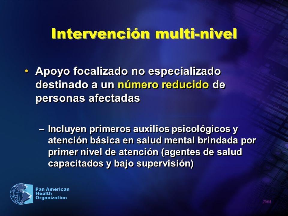 2004 Pan American Health Organization Apoyo focalizado no especializado destinado a un número reducido de personas afectadas –Incluyen primeros auxili