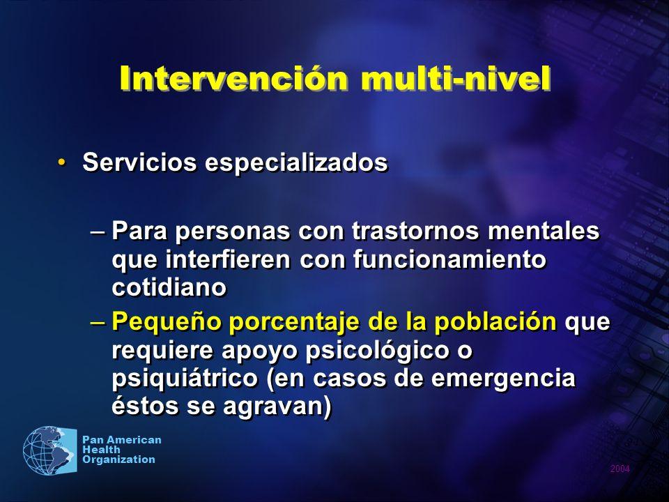 2004 Pan American Health Organization Servicios especializados –Para personas con trastornos mentales que interfieren con funcionamiento cotidiano –Pe