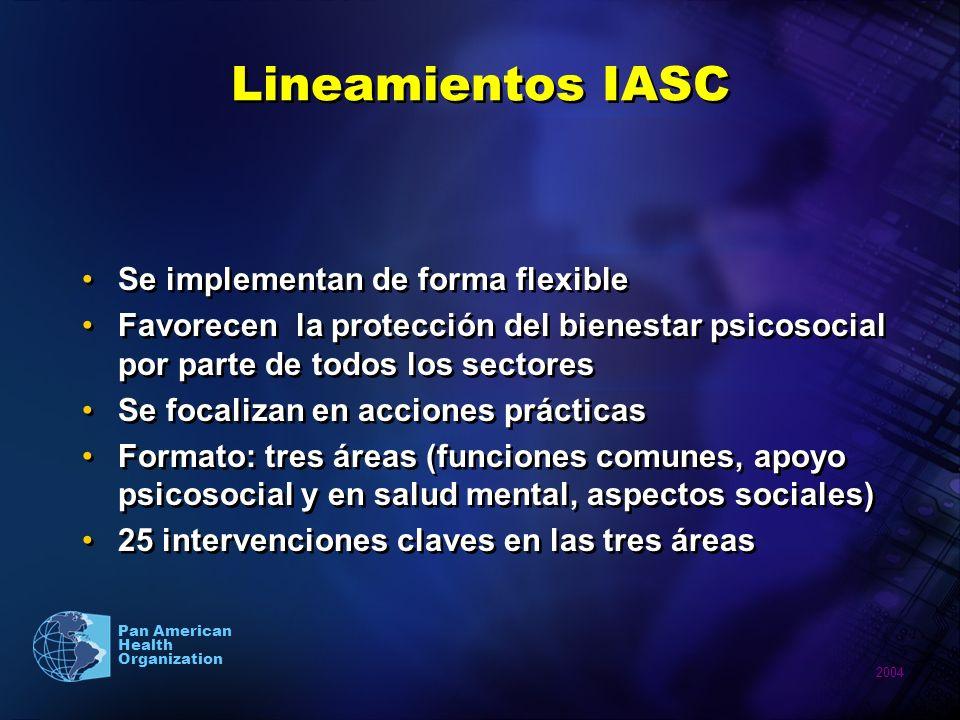 2004 Pan American Health Organization Lineamientos IASC Se implementan de forma flexible Favorecen la protección del bienestar psicosocial por parte d