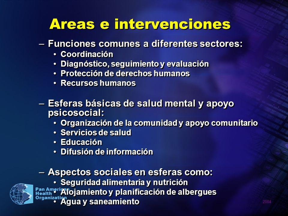 2004 Pan American Health Organization Areas e intervenciones –Funciones comunes a diferentes sectores: Coordinación Diagnóstico, seguimiento y evaluac