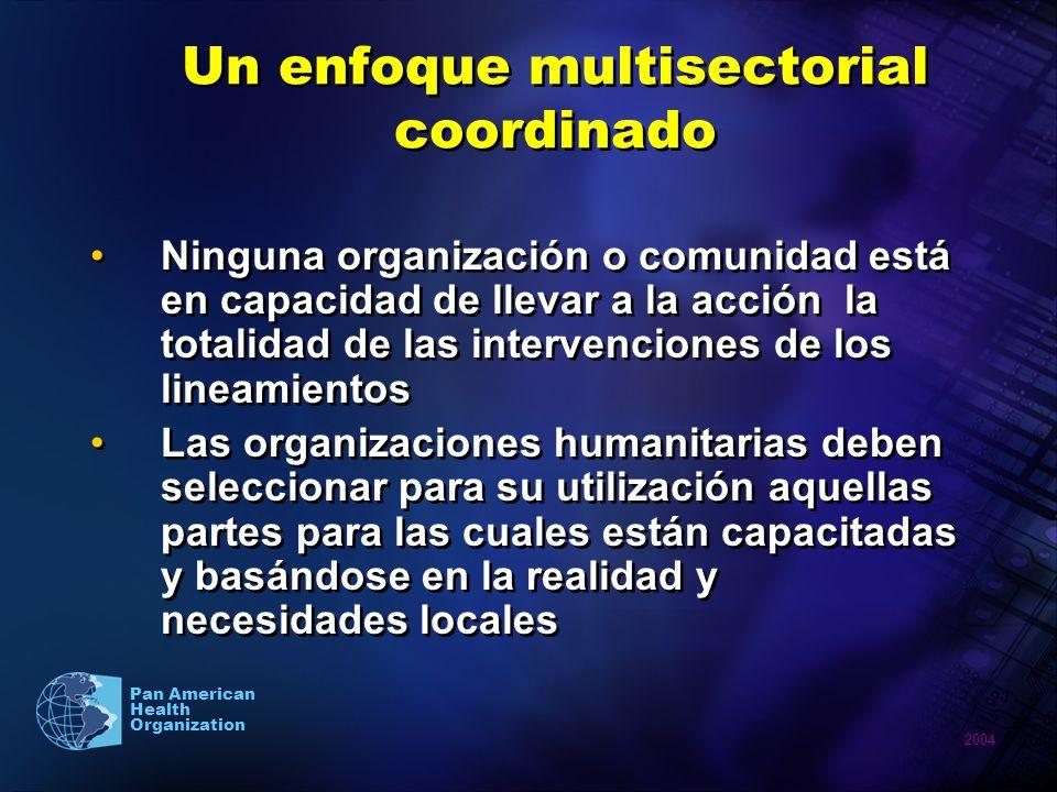 2004 Pan American Health Organization Un enfoque multisectorial coordinado Ninguna organización o comunidad está en capacidad de llevar a la acción la