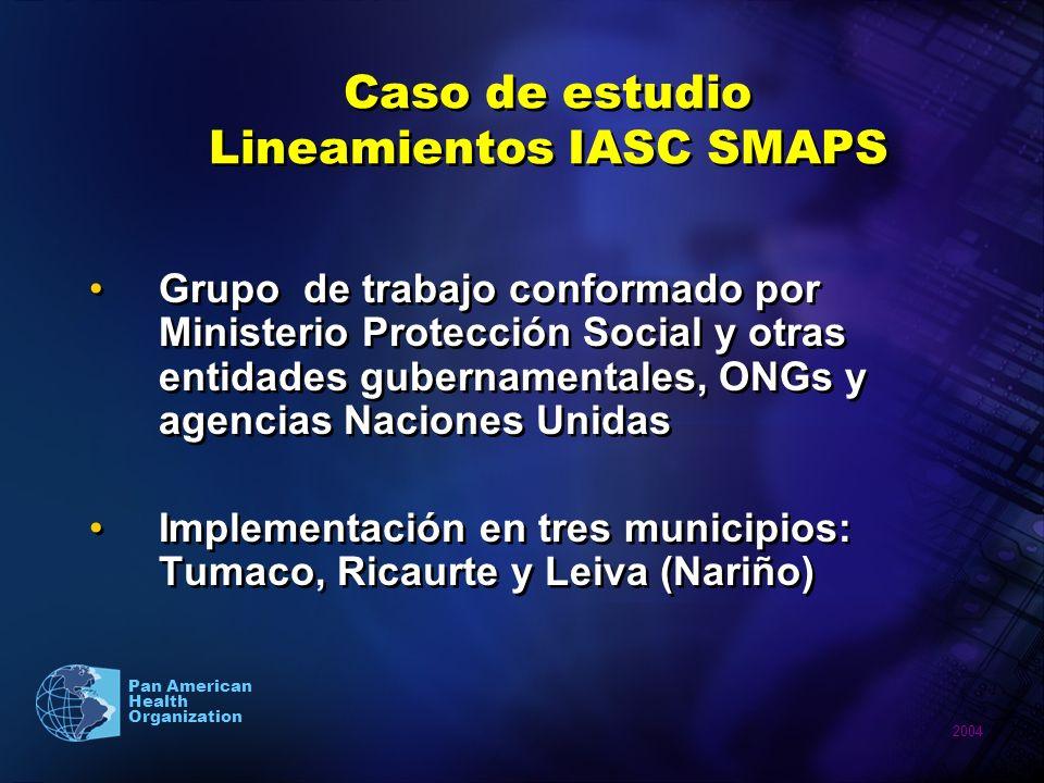 2004 Pan American Health Organization Caso de estudio Lineamientos IASC SMAPS Grupo de trabajo conformado por Ministerio Protección Social y otras ent