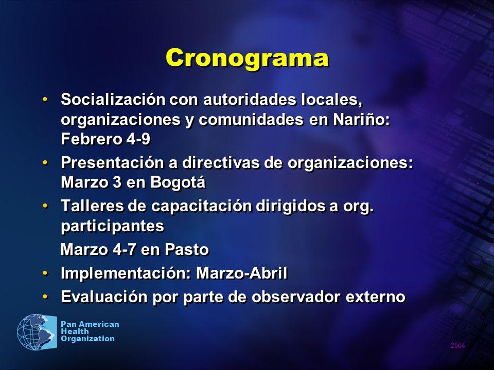 2004 Pan American Health Organization Cronograma Socialización con autoridades locales, organizaciones y comunidades en Nariño: Febrero 4-9 Presentaci