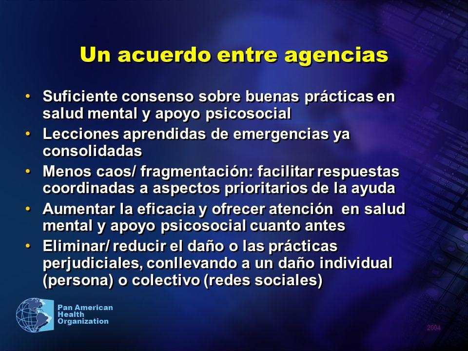 2004 Pan American Health Organization Lineamientos IASC Se implementan de forma flexible Favorecen la protección del bienestar psicosocial por parte de todos los sectores Se focalizan en acciones prácticas Formato: tres áreas (funciones comunes, apoyo psicosocial y en salud mental, aspectos sociales) 25 intervenciones claves en las tres áreas Se implementan de forma flexible Favorecen la protección del bienestar psicosocial por parte de todos los sectores Se focalizan en acciones prácticas Formato: tres áreas (funciones comunes, apoyo psicosocial y en salud mental, aspectos sociales) 25 intervenciones claves en las tres áreas