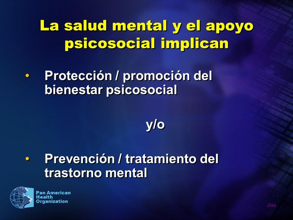 2004 Pan American Health Organization La salud mental y el apoyo psicosocial implican Protección / promoción del bienestar psicosocial y/o Prevención
