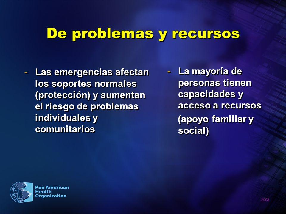 2004 Pan American Health Organization De problemas y recursos -Las emergencias afectan los soportes normales (protección) y aumentan el riesgo de prob