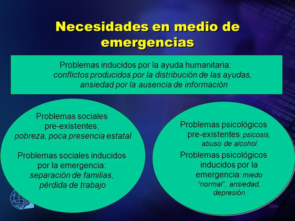 2004 Pan American Health Organization Necesidades en medio de emergencias Problemas sociales pre-existentes: pobreza, poca presencia estatal Problemas