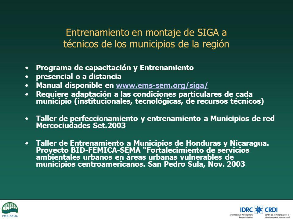Entrenamiento en montaje de SIGA a técnicos de los municipios de la región Programa de capacitación y Entrenamiento presencial o a distancia Manual di