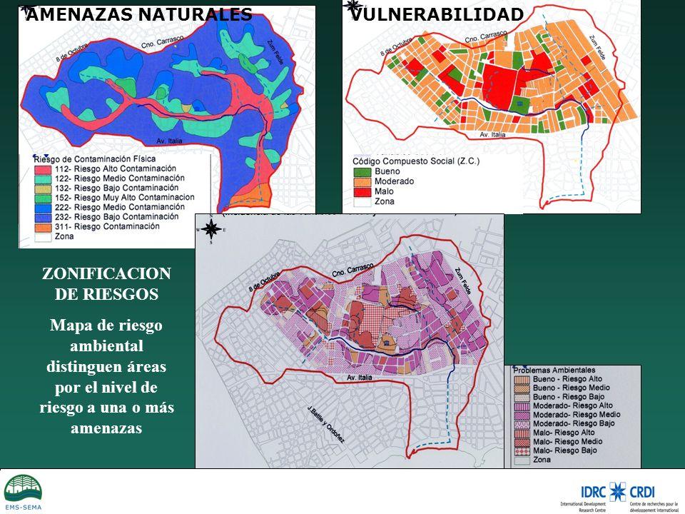 AMENAZAS NATURALESVULNERABILIDAD ZONIFICACION DE RIESGOS Mapa de riesgo ambiental distinguen áreas por el nivel de riesgo a una o más amenazas
