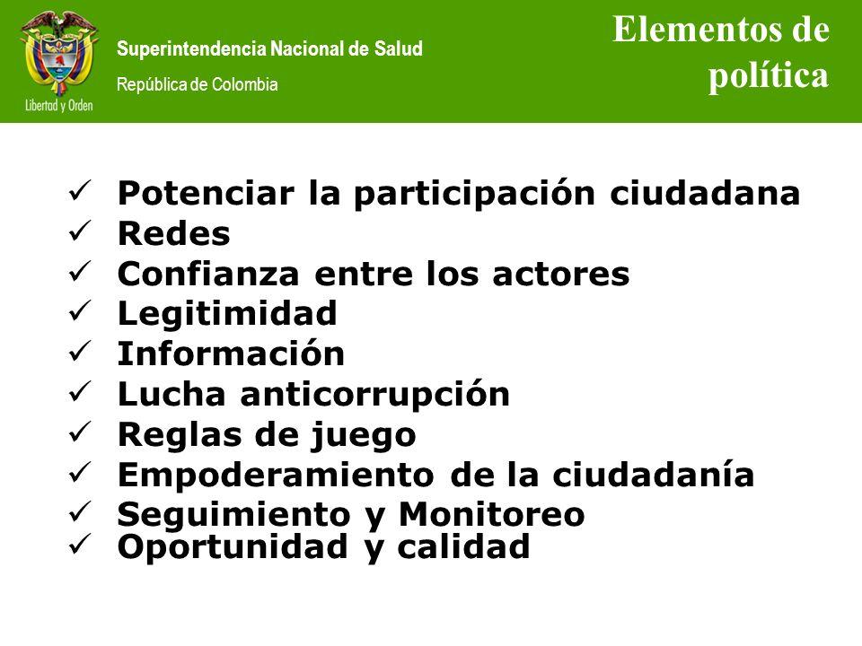 Superintendencia Nacional de Salud República de Colombia Potenciar la participación ciudadana Redes Confianza entre los actores Legitimidad Informació