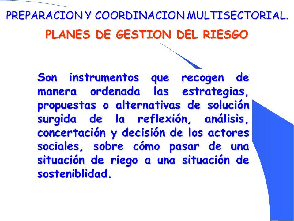 PREPARACION Y COORDINACION MULTISECTORIAL. PLANES DE GESTION DEL RIESGO Son instrumentos que recogen de manera ordenada las estrategias, propuestas o
