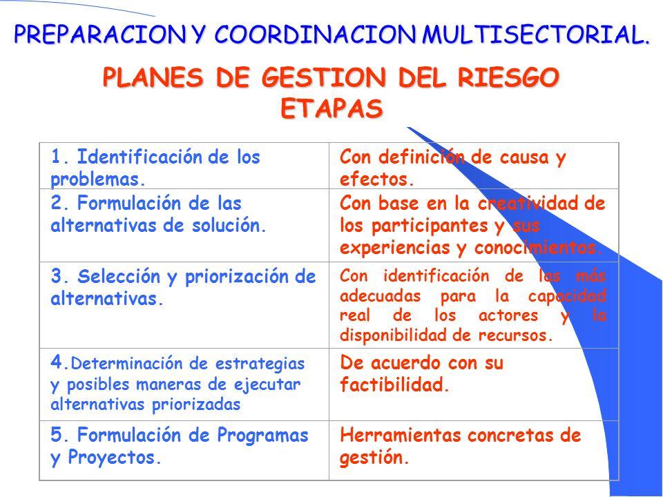 PREPARACION Y COORDINACION MULTISECTORIAL. PLANES DE GESTION DEL RIESGO ETAPAS 1. Identificación de los problemas. Con definición de causa y efectos.