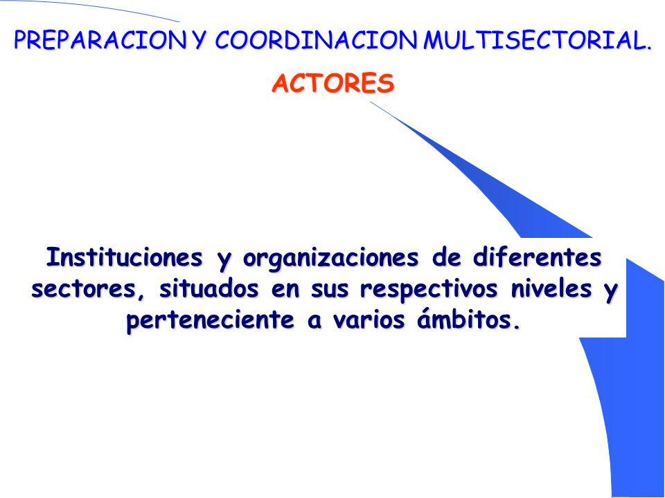 PREPARACION Y COORDINACION MULTISECTORIAL. ACTORES Instituciones y organizaciones de diferentes sectores, situados en sus respectivos niveles y perten