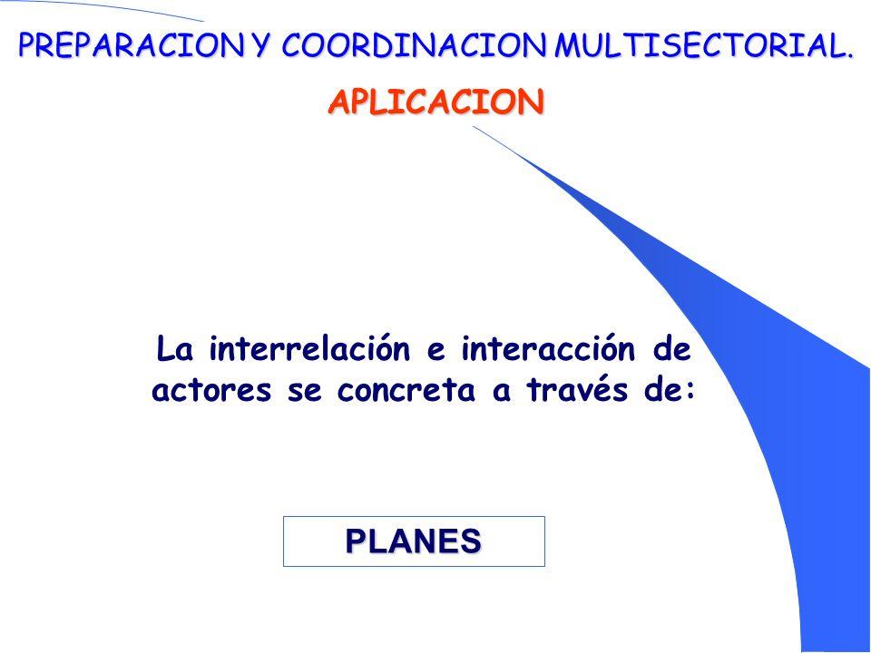 PREPARACION Y COORDINACION MULTISECTORIAL. APLICACION La interrelación e interacción de actores se concreta a través de: PLANES