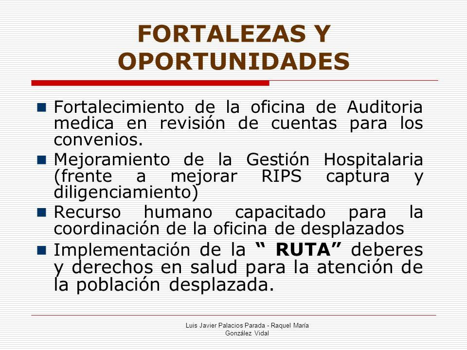 FORTALEZAS Y OPORTUNIDADES Luis Javier Palacios Parada - Raquel María González Vidal Fortalecimiento de la oficina de Auditoria medica en revisión de cuentas para los convenios.