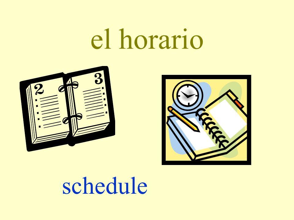 el horario schedule