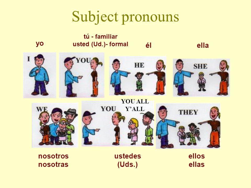 Subject pronouns nosotros nosotras ellos ellas ustedes (Uds.) yo tú - familiar usted (Ud.)- formal élella YOU ALL YALL