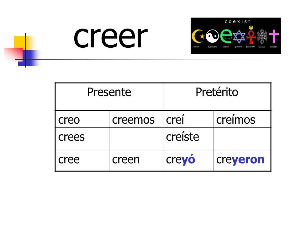 PresentePretérito creocreemoscreícreímos creescreíste creecreencreyócreyeron creer