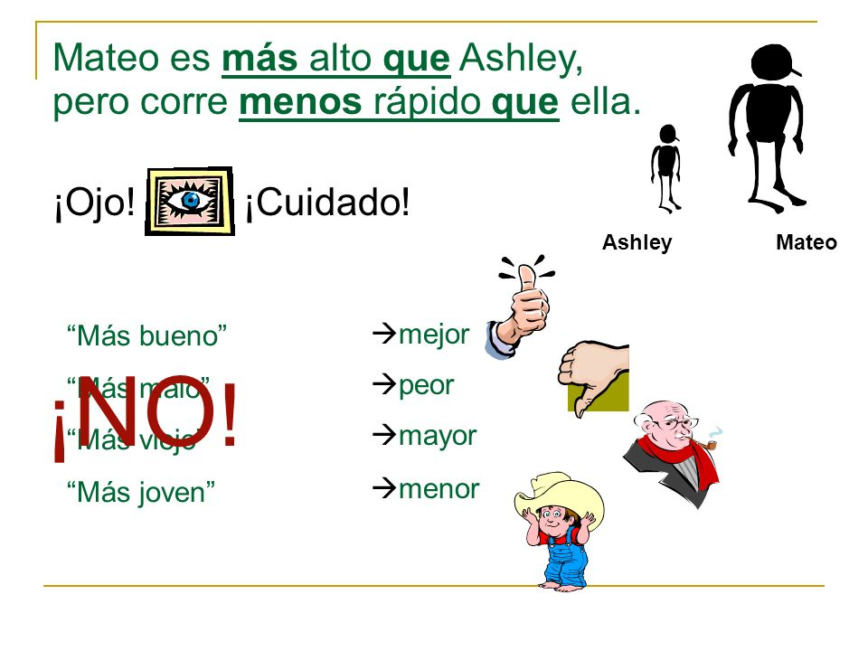 AshleyMateo Mateo es más alto que Ashley, pero corre menos rápido que ella.