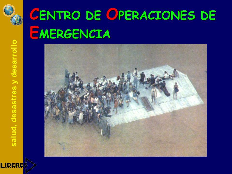 salud, desastres y desarrollo C ENTRO DE O PERACIONES DE E MERGENCIA