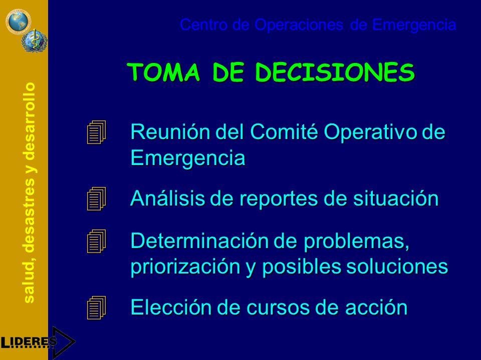 salud, desastres y desarrollo TOMA DE DECISIONES 4 Reunión del Comité Operativo de Emergencia 4 Análisis de reportes de situación 4 Determinación de p