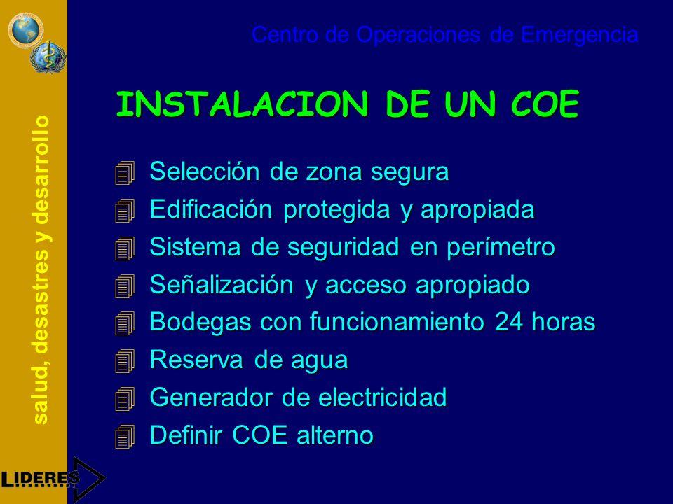 salud, desastres y desarrollo INSTALACION DE UN COE 4Selección de zona segura 4Edificación protegida y apropiada 4Sistema de seguridad en perímetro 4S