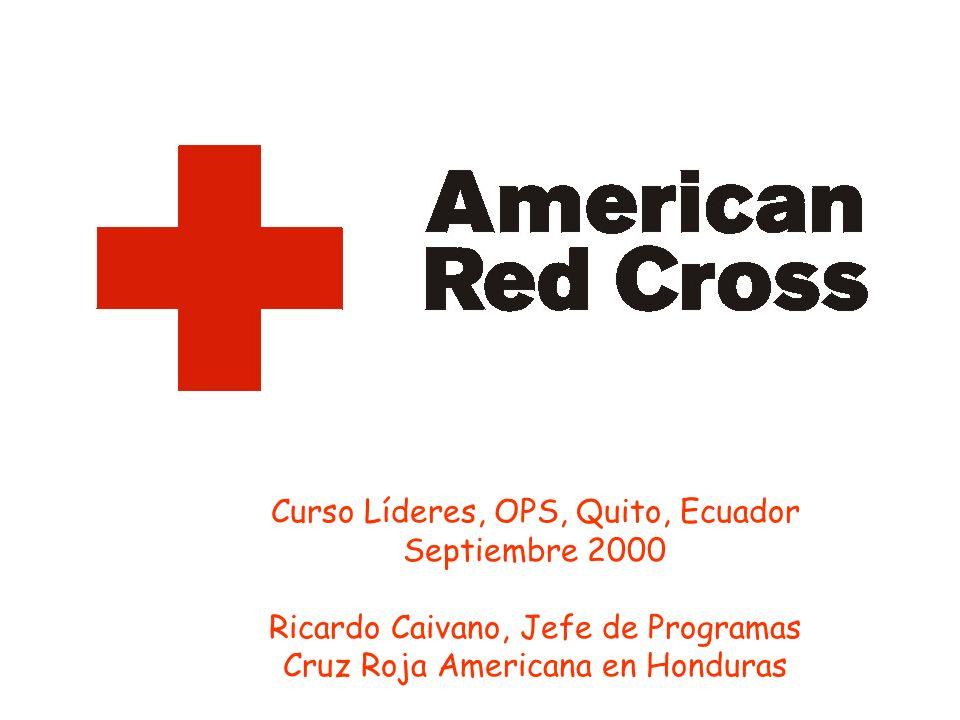 Curso Líderes, OPS, Quito, Ecuador Septiembre 2000 Ricardo Caivano, Jefe de Programas Cruz Roja Americana en Honduras