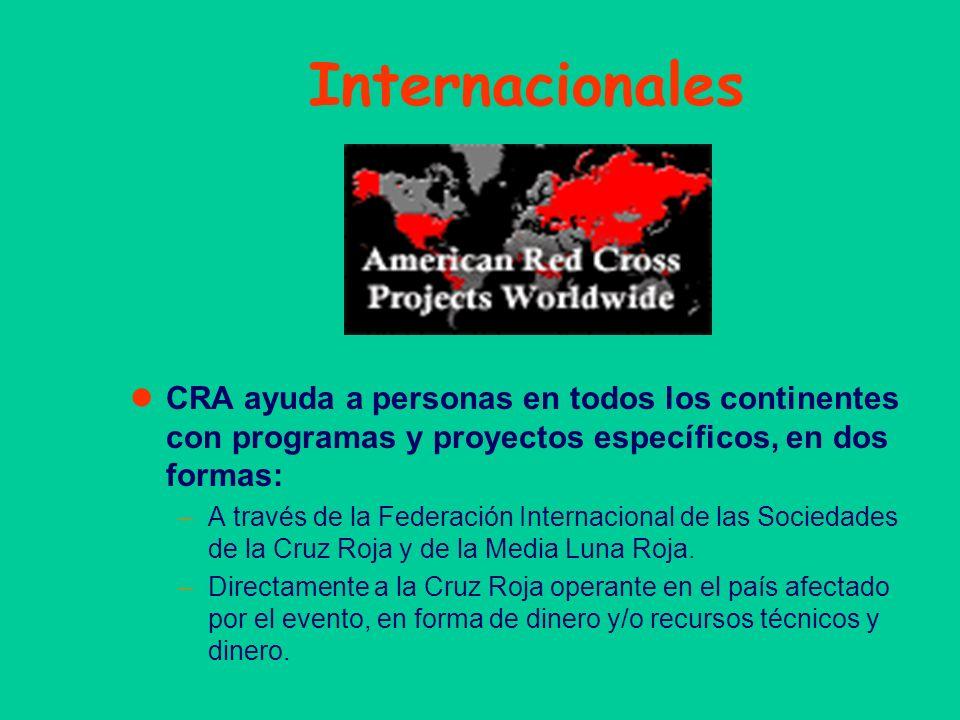 Internacionales CRA ayuda a personas en todos los continentes con programas y proyectos específicos, en dos formas: –A través de la Federación Interna