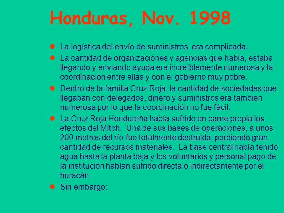 Honduras, Nov. 1998 La logística del envío de suministros era complicada. La cantidad de organizaciones y agencias que había, estaba llegando y envian