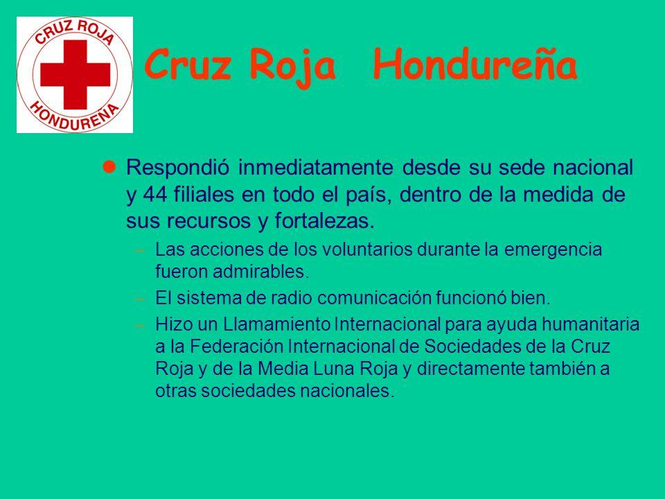 Cruz Roja Hondureña Respondió inmediatamente desde su sede nacional y 44 filiales en todo el país, dentro de la medida de sus recursos y fortalezas. –