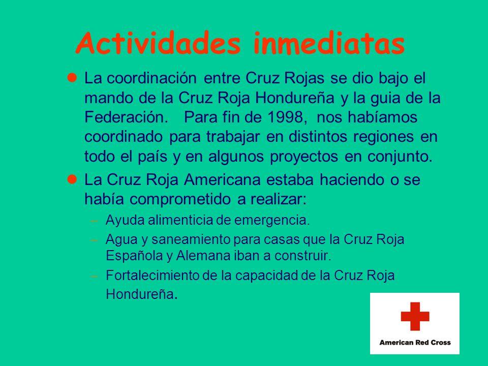 Actividades inmediatas La coordinación entre Cruz Rojas se dio bajo el mando de la Cruz Roja Hondureña y la guia de la Federación. Para fin de 1998, n