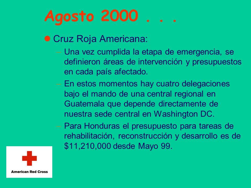Agosto 2000... Cruz Roja Americana: –Una vez cumplida la etapa de emergencia, se definieron áreas de intervención y presupuestos en cada país afectado