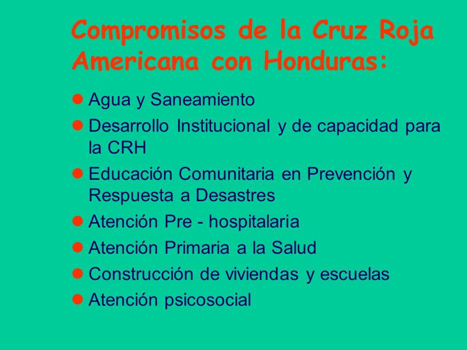 Compromisos de la Cruz Roja Americana con Honduras: Agua y Saneamiento Desarrollo Institucional y de capacidad para la CRH Educación Comunitaria en Pr