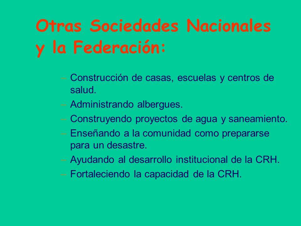 Otras Sociedades Nacionales y la Federación: –Construcción de casas, escuelas y centros de salud. –Administrando albergues. –Construyendo proyectos de