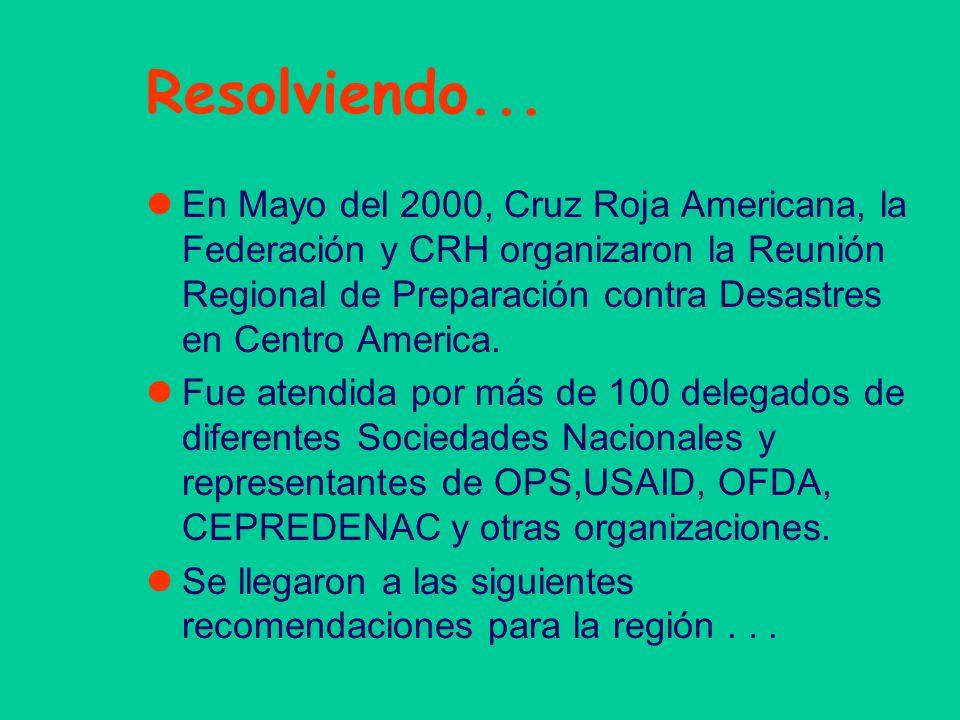 Resolviendo... En Mayo del 2000, Cruz Roja Americana, la Federación y CRH organizaron la Reunión Regional de Preparación contra Desastres en Centro Am