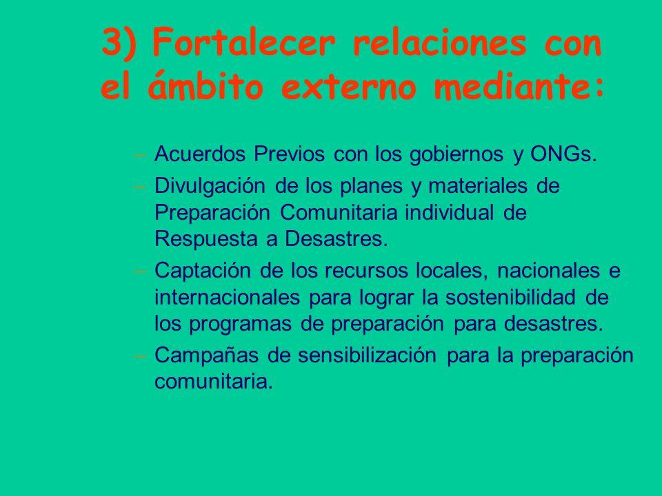 3) Fortalecer relaciones con el ámbito externo mediante: –Acuerdos Previos con los gobiernos y ONGs. –Divulgación de los planes y materiales de Prepar