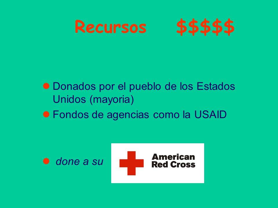 Recursos $$$$$ Donados por el pueblo de los Estados Unidos (mayoria) Fondos de agencias como la USAID done a su