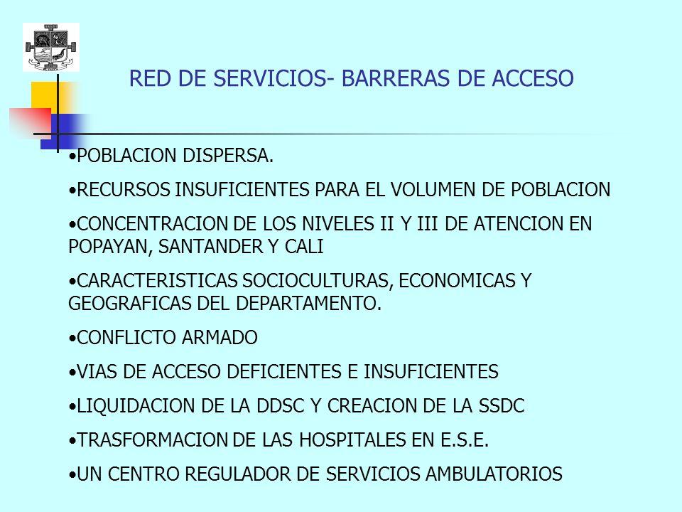 RED DE SERVICIOS- BARRERAS DE ACCESO POBLACION DISPERSA.