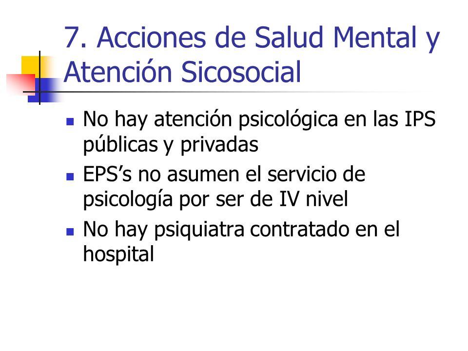 7. Acciones de Salud Mental y Atención Sicosocial No hay atención psicológica en las IPS públicas y privadas EPSs no asumen el servicio de psicología