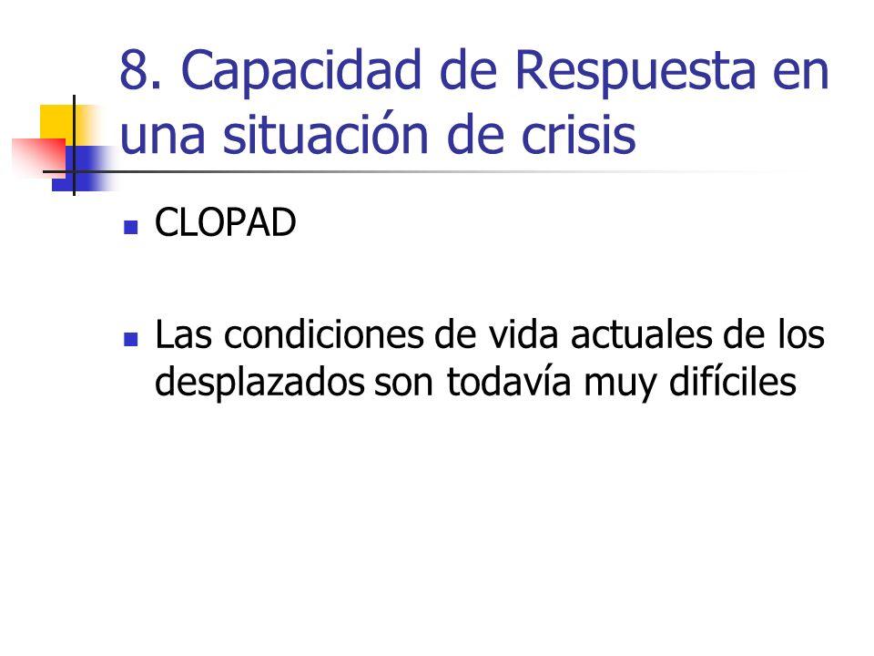 8. Capacidad de Respuesta en una situación de crisis CLOPAD Las condiciones de vida actuales de los desplazados son todavía muy difíciles