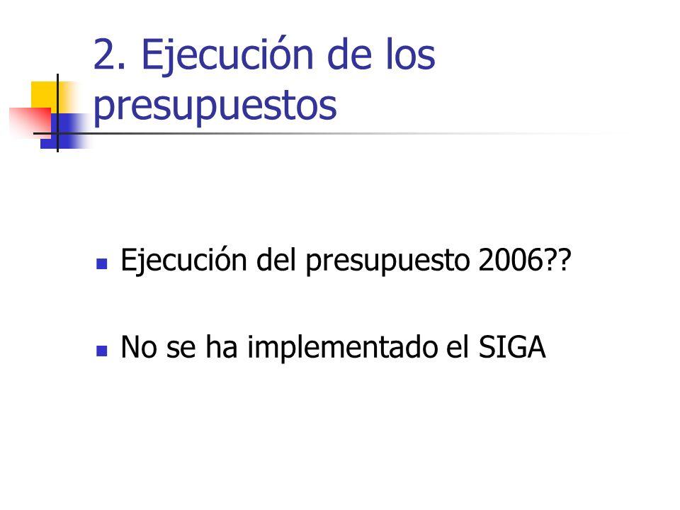 2. Ejecución de los presupuestos Ejecución del presupuesto 2006?? No se ha implementado el SIGA