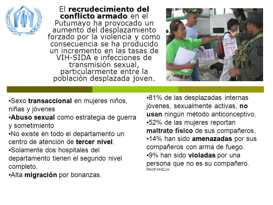 SITUACIÓN recrudecimiento del conflicto armado El recrudecimiento del conflicto armado en el Putumayo ha provocado un aumento del desplazamiento forzado por la violencia y como consecuencia se ha producido un incremento en las tasas de VIH-SIDA e infecciones de transmisión sexual, particularmente entre la población desplazada joven.