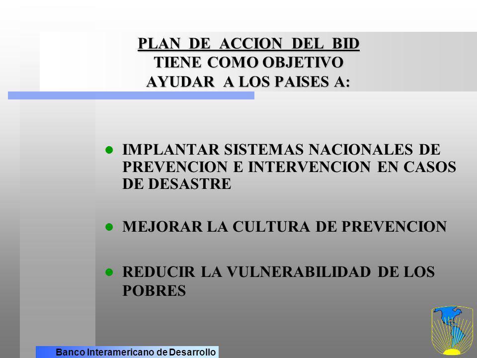 Banco Interamericano de Desarrollo TIENE COMO OBJETIVO AYUDAR A LOS PAISES A PLAN DE ACCION DEL BID TIENE COMO OBJETIVO AYUDAR A LOS PAISES A: (cont.) FOMENTAR LA PARTICIPACION DEL SECTOR PRIVADO MEJORAR LA INFORMACION SOBRE EL RIESGO, A FIN DE FACILITAR DECISIONES FOMENTAR EL LIDERAZGO Y LA COOPERACION EN LA REGION