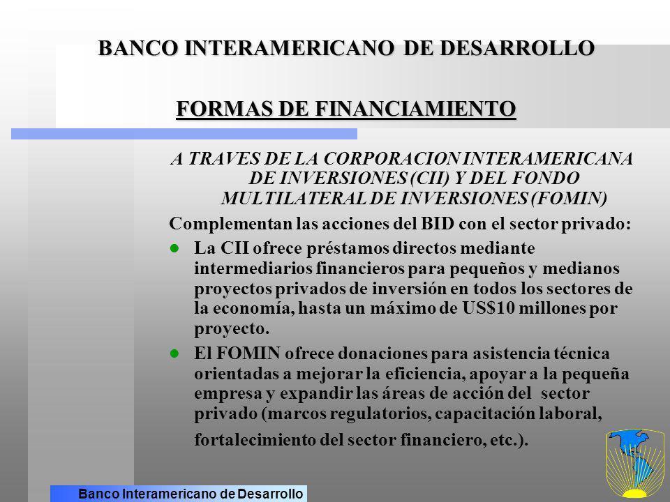 Banco Interamericano de Desarrollo BANCO INTERAMERICANO DE DESARROLLO FORMAS DE FINANCIAMIENTO (cont.) A TRAVES DE LOS DEPART.