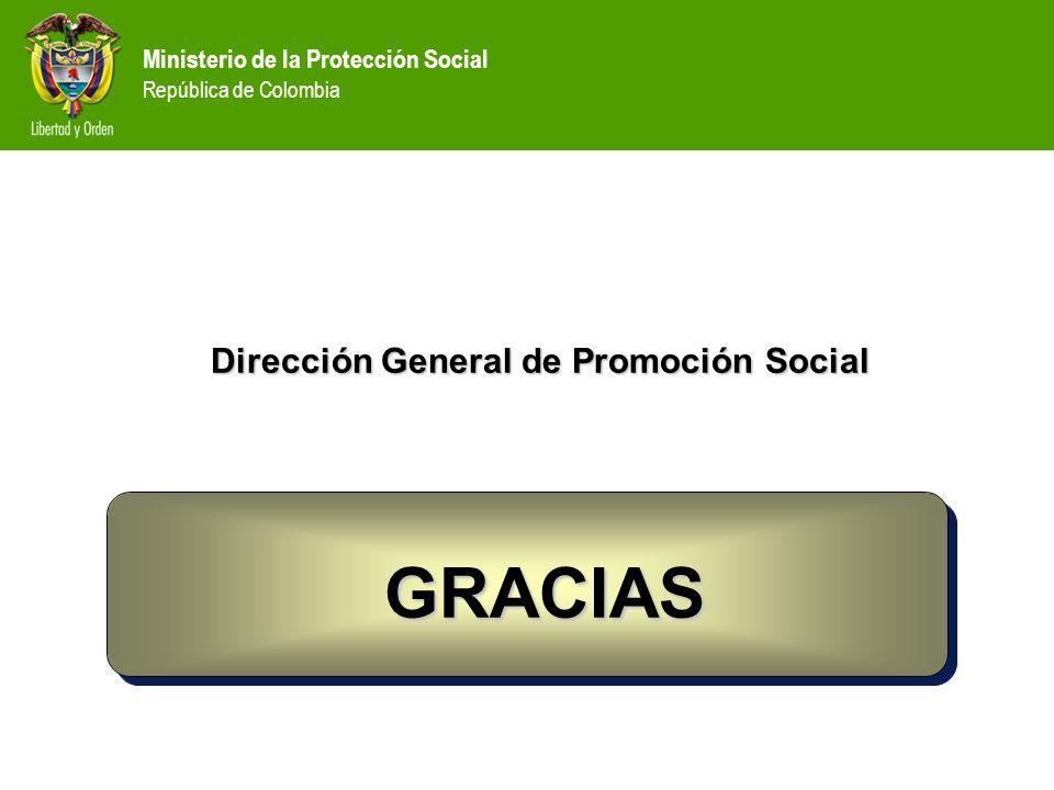 Dirección General de Promoción Social GRACIAS GRACIAS Ministerio de la Protección Social República de Colombia