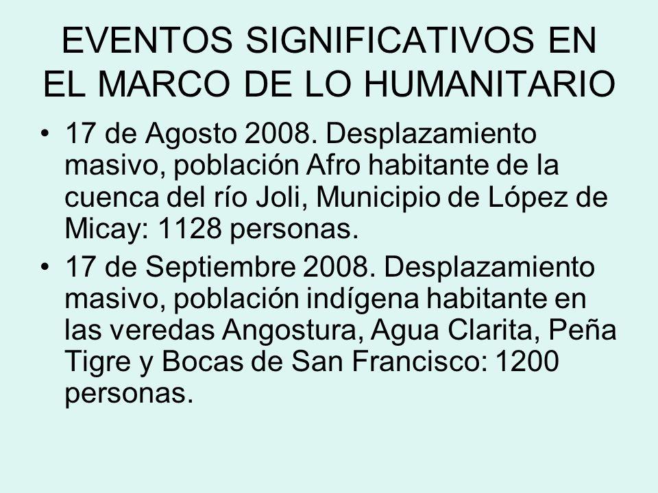 RESPUESTA HUMANITARIA GENERAL La respuesta local inicial se da a través de las Alcaldías y las personerías de los municipios de López y Timbiqui.