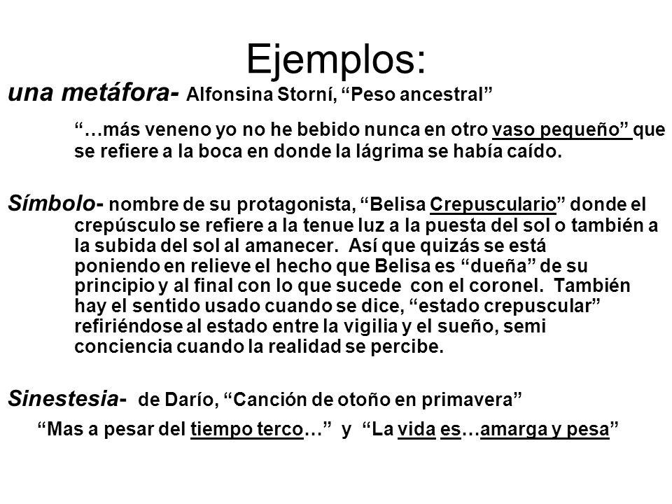 Ejemplos: una metáfora- Alfonsina Storní, Peso ancestral …más veneno yo no he bebido nunca en otro vaso pequeño que se refiere a la boca en donde la l
