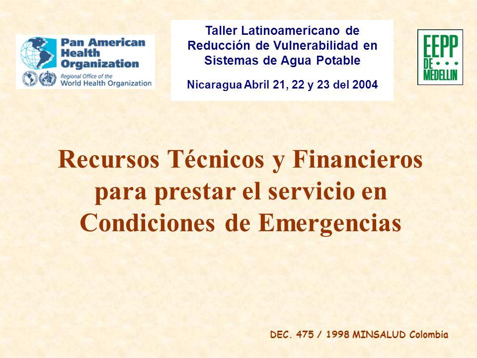 Taller Latinoamericano de Reducción de Vulnerabilidad en Sistemas de Agua Potable Nicaragua Abril 21, 22 y 23 del 2004 Recursos Técnicos y Financieros para prestar el servicio en Condiciones de Emergencias DEC.